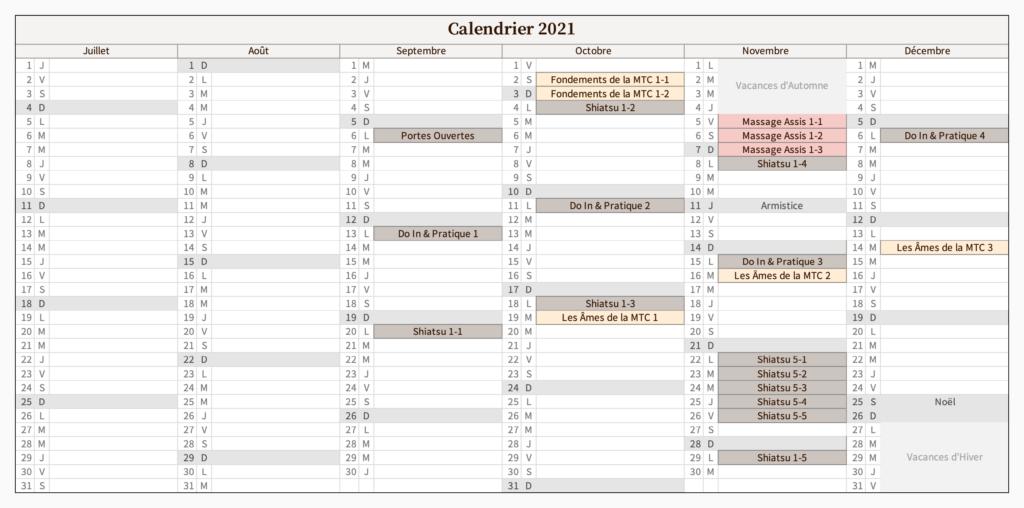 Calendrier 2e semestre 2021