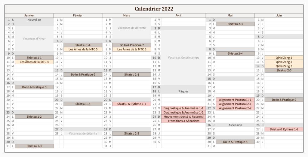 Calendrier 1er semestre 2022